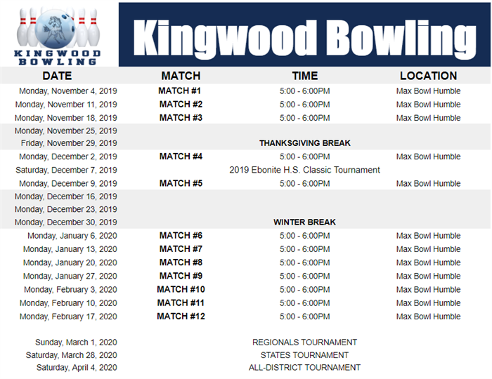 2019 KHS Bowling Schedule
