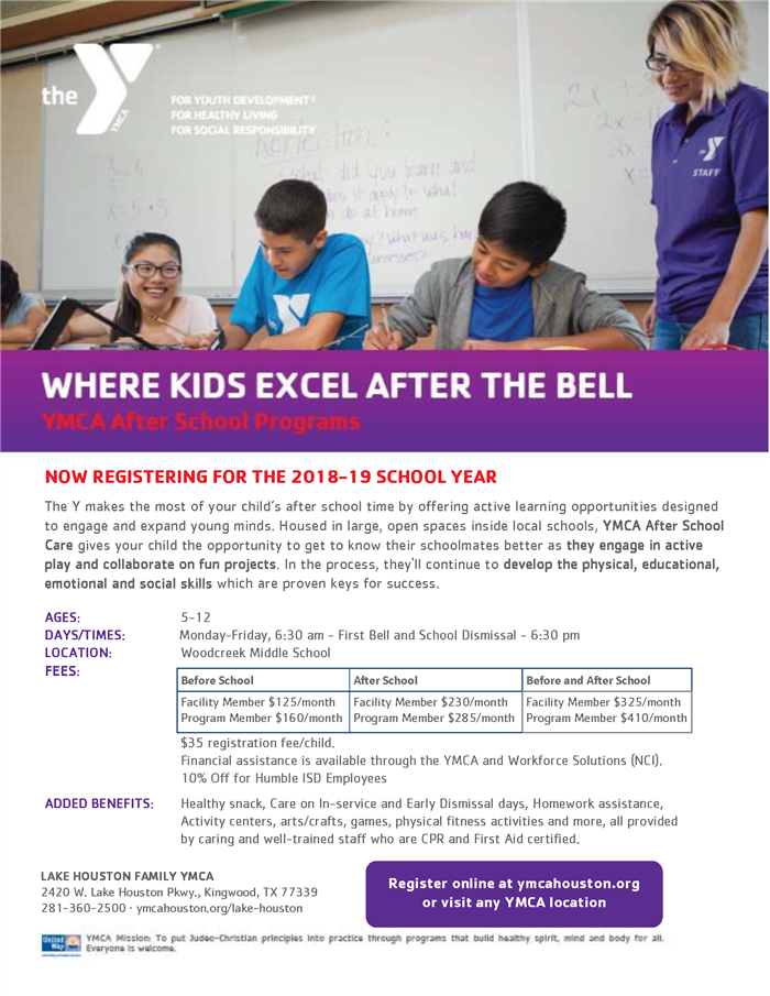 Ymca Beforeafter School Programs Program Flier With Costs