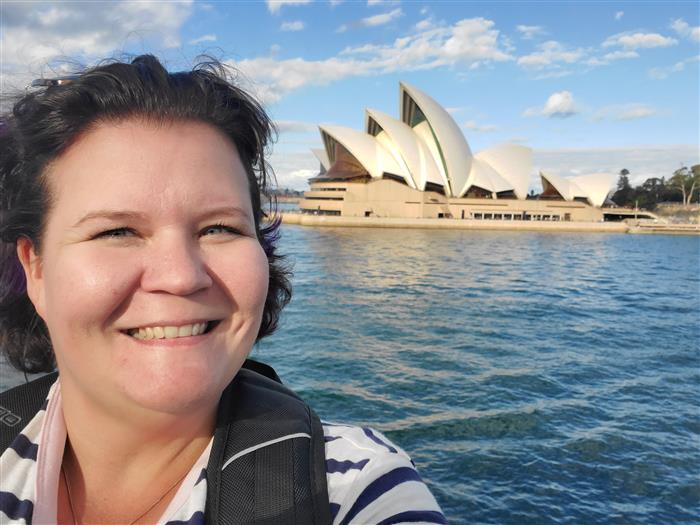 Mrs. Chambers in front of the Sydney Opera House
