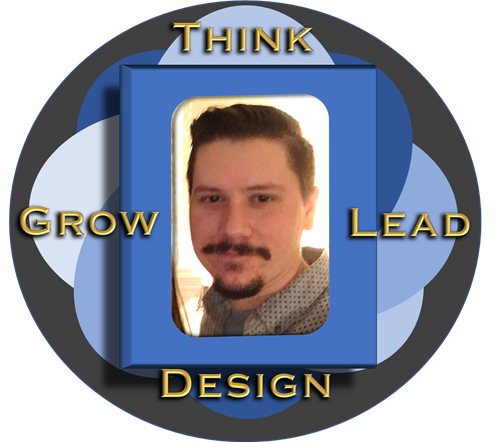 Picture of Mr. Setterbo the Media Specialist set in a design that says: Think Lead Grow Design
