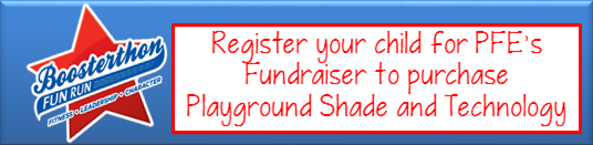 Register your child for PFE's Fundraiser to purchase Playground Shade and Technology