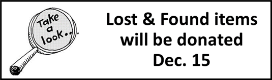 Lost & Found items donated Dec. 15