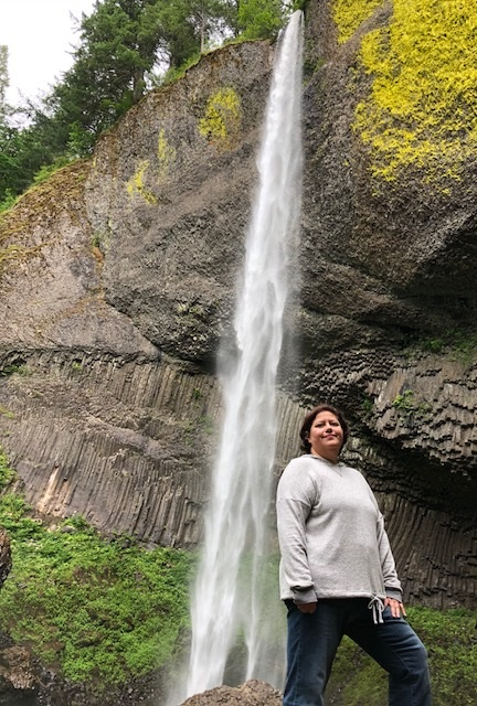Ms. Venghaus at Latourell Falls near Portland, Oregon