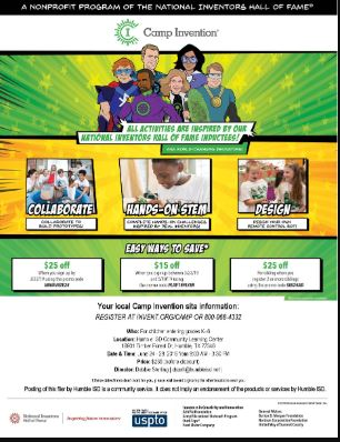 Camp Invention Flyer, July 1 2019
