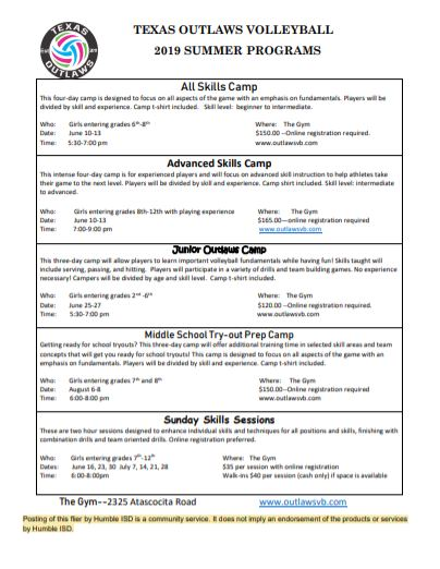 Texas Outlaws Volleyball Summer Camps