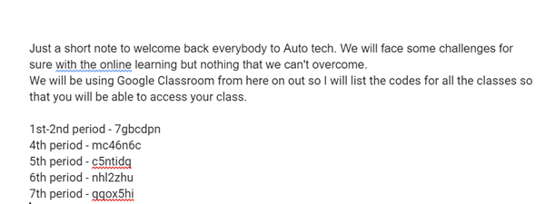 Just a short note to welcome back everybody to Auto tech. We will face some challenges for sure with the online learning but