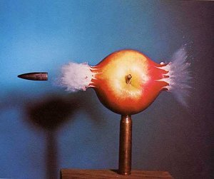 picture of bullet going through apple