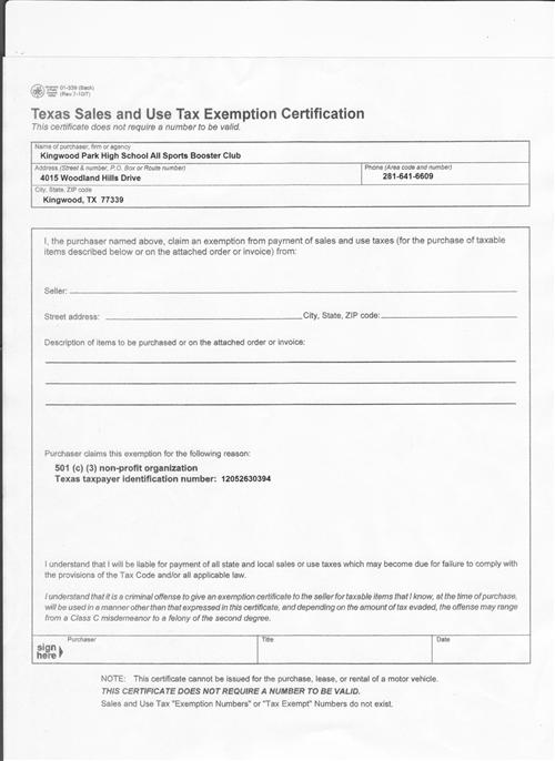 Wrestling  Tax Exempt Form