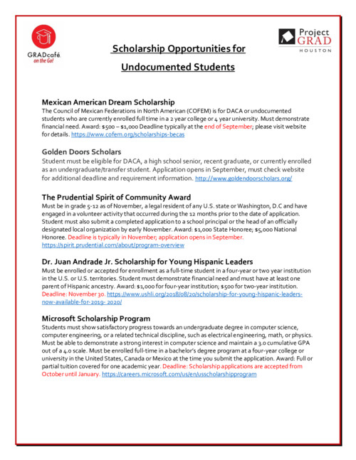 Undocumented student scholarships