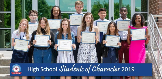 2019 High School Students of Character