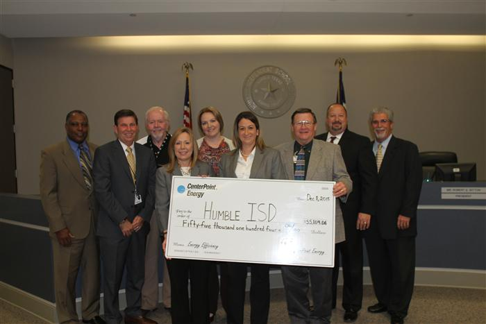 Humble ISD Awarded Rebate Check by CenterPoint Energy