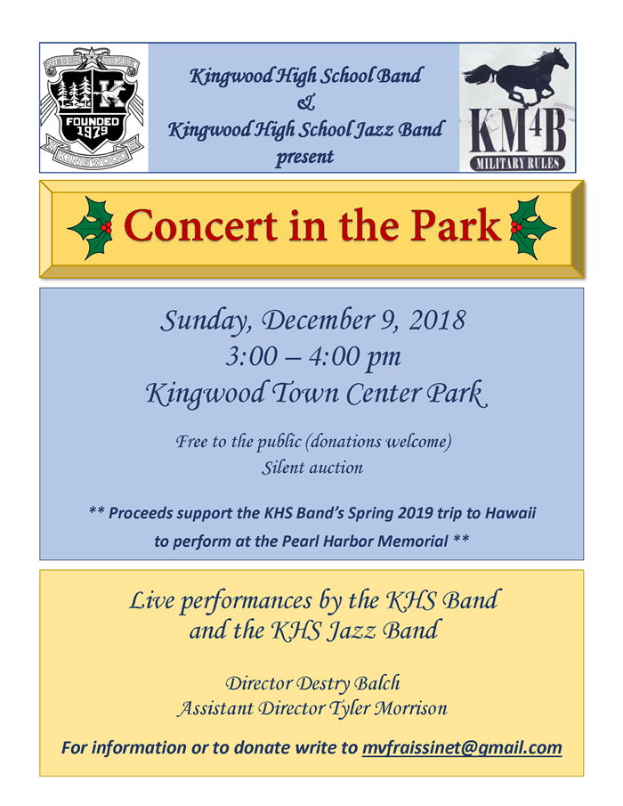 KHS Band in the Park Dec. 9