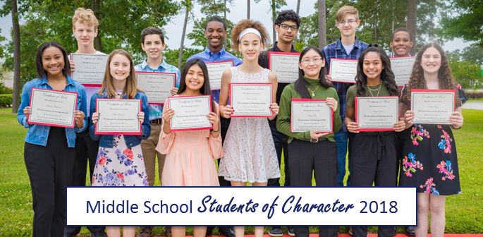 2018 Middle School Students of Character