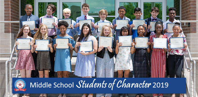2019 Middle School Students of Character