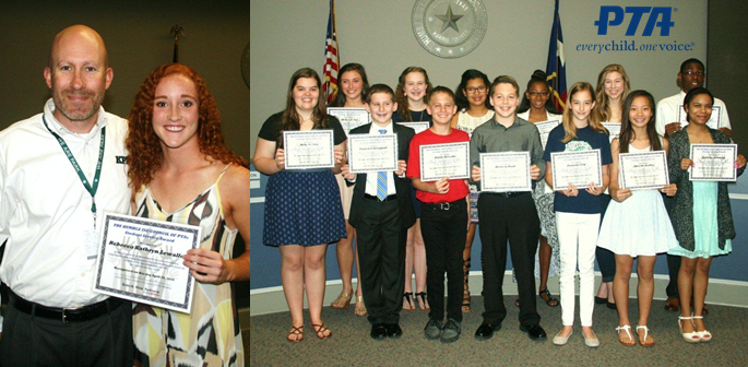 PTA Recognized Students for Outstanding Volunteer Service