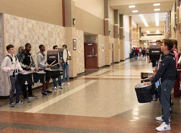 SCHS students set a festive mood with drums