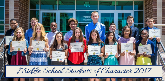 Middle School Students of Character 2017