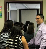 About humble isd district profile greeting students at classroom door m4hsunfo