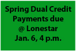 Spring Dual Credit Payments Due