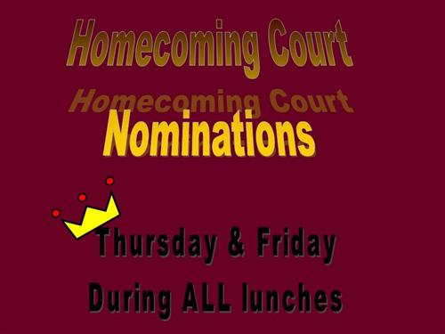 Homecoming Court Nominations!