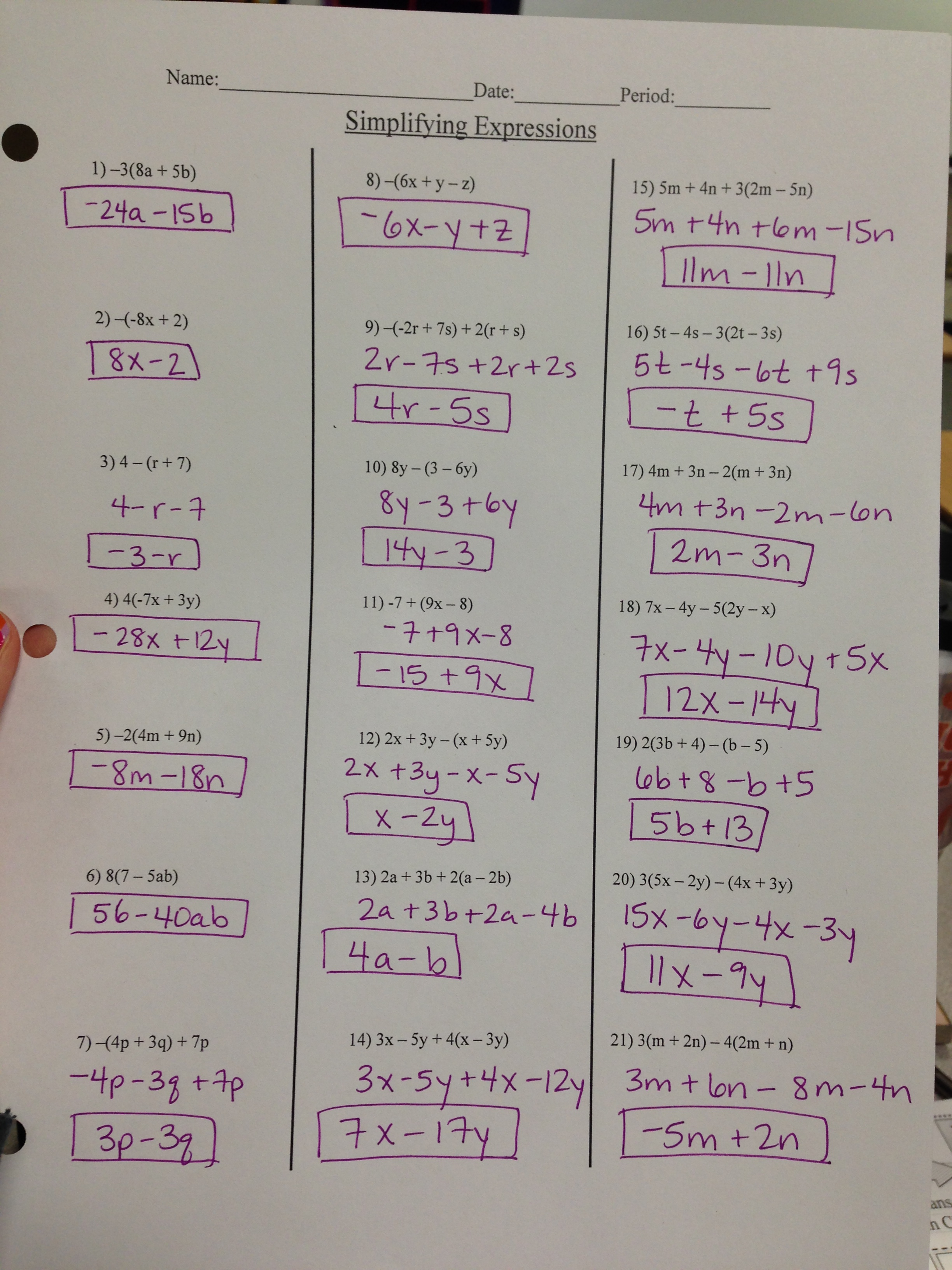 ... Worksheets. on worksheet distributive property combining like terms